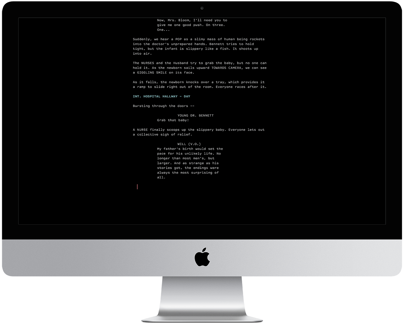 Dark Mode Typewriter Scrolling